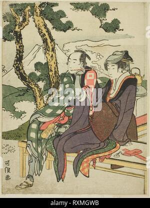 Evening Glow for Date no Yosaku and Seki no Koman, from the untitled series known as 'Eight Views of Tragic Lovers (Michiyuki hakkei)'. Katsushika Hokusai ?? ??; Japanese, 1760-1849. Date: 1801-1804. Dimensions: 23.1 x 17.5 cm. Color woodblock print; chuban. Origin: Japan. Museum: The Chicago Art Institute. - Stock Photo