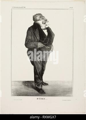 Mr. Étien...., plate 283 from Célébrités de la Caricature. Honoré Victorin Daumier; French, 1808-1879. Date: 1833. Dimensions: 274 × 193 mm (image); 358 × 266 mm (sheet). Lithograph in black on ivory wove paper. Origin: France. Museum: The Chicago Art Institute. - Stock Photo