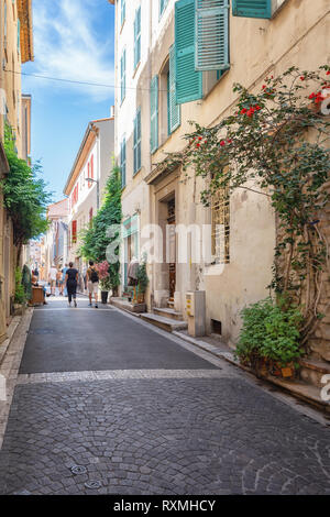 Impression of the narrow streets in the old center of Antibes - Stock Photo
