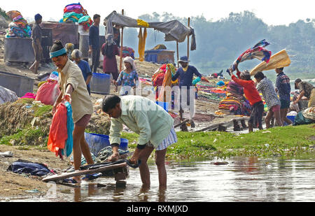 AGRA, INDIA - SEPTEMBER 16, 2014: local community does laundry on the riverside of Yamuna river in Agra, India on September 16, 2014. - Stock Photo