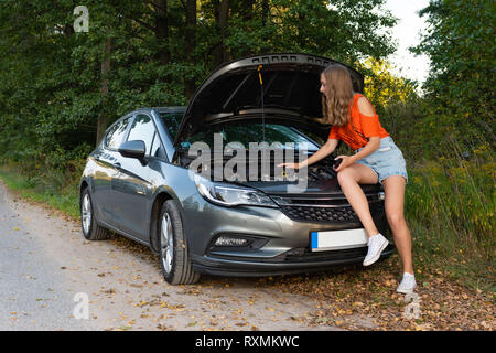 Pretty, young woman by the roadside after her car has broken down - Image - Stock Photo