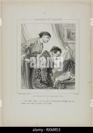 Say-So, Papa!, from Masques et Visages. Paul Gavarni; French, 1804-1866. Date: 1853. Dimensions: 220 × 185 mm (image); 364 × 268 mm (sheet). Lithograph in black on ivory wove paper. Origin: France. Museum: The Chicago Art Institute. - Stock Photo