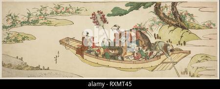 Ferry boat. Katsushika Hokusai ?? ??; Japanese, 1760-1849. Date: 1804-1814. Dimensions: 18.4 x 51.4 cm (7 1/4 x 20 1/4 in.). Color woodblock print; nagaban, surimono. Origin: Japan. Museum: The Chicago Art Institute. - Stock Photo