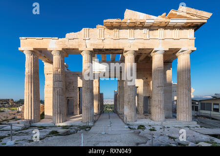 Propylaea in the Acropolis, is the monumental gateway to the Acropolis, Athens, Greece - Stock Photo