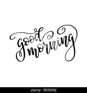 Hand drawn lettering 'Good morning'. Lettering vector illustration. - Stock Photo