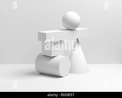 Abstract white equilibrium still life installation with primitive geometric shapes. 3d render illustration