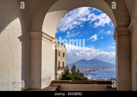 Naples Campania Italy. View of the gulf of Naples and Mount Vesuvius from the Certosa di San Martino (Charterhouse of St. Martin), a former monastery  - Stock Photo