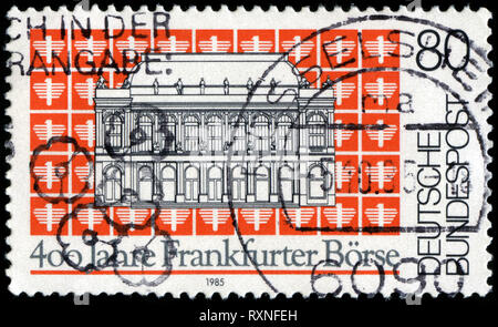 Postage stamp from the Federal Republic of Germany in the 400th Anniv. of Frankfurt Stock Exchange series issued in 1985 - Stock Photo