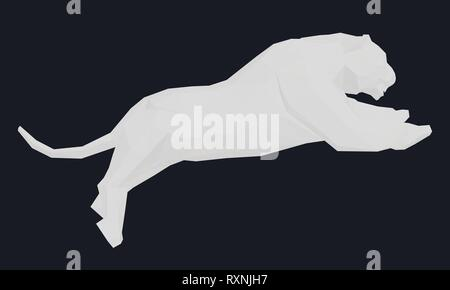 White polygonal tiger in a jump. Vector illustration - Stock Photo