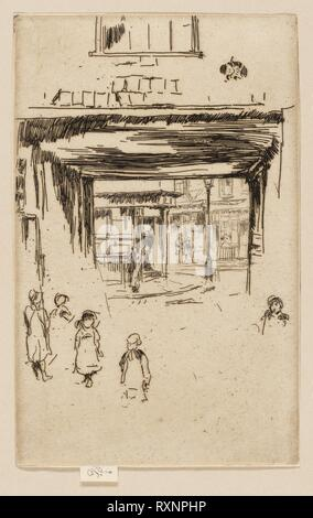Drury Lane. James McNeill Whistler; American, 1834-1903. Date: 1880-1881. Dimensions: 162 x 102 mm (image, trimmed within plate mark); 168 x 102 mm (sheet, with signature tab). Etching with foul biting in black on cream laid paper. Origin: United States. Museum: The Chicago Art Institute. - Stock Photo