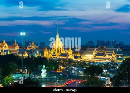Bangkok panorama with Grand Palace and Sanam luang park at night - Stock Photo