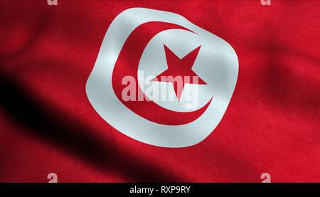 Tunisia Waving Flag in 3D - Stock Photo