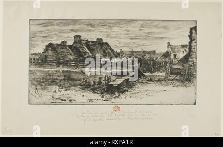 The Large Thatched Cottages. Félix Hilaire Buhot; French, 1847-1898. Date: 1881. Dimensions: 140 × 273 mm (plate); 218 × 357 mm (sheet). Etching and drypoint on light gray Japanese paper. Origin: France. Museum: The Chicago Art Institute. - Stock Photo