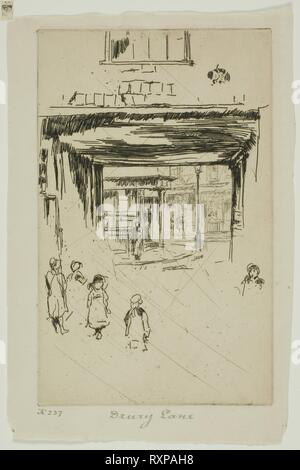 Drury Lane. James McNeill Whistler; American, 1834-1903. Date: 1880-1881. Dimensions: 162 x 101 mm (plate); 186 x 123 mm (sheet). Etching with foul biting, with drypoint cancellation, in brown ink on ivory laid paper. Origin: United States. Museum: The Chicago Art Institute. - Stock Photo