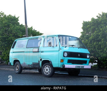 March 2019 - 30 Year old VW Volkswagen T25 air cooled van converted into a camper, - Stock Photo