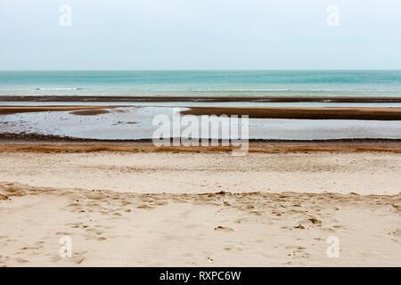 Oostduinkerke, Belgium - February 14  2018 - Seascape - Stock Photo