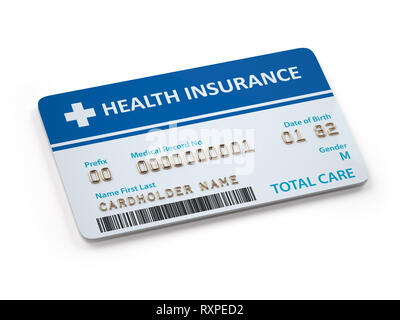 Health Insurance cards total and dental care  Isolated on white background. 3d illustration - Stock Photo