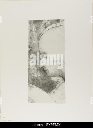 The Celestial Art. Odilon Redon; French, 1840-1916. Date: 1894. Dimensions: 310 × 141 mm (image/chine); 452 × 347 mm (sheet). Lithograph in black on off-white China paper laid down on ivory wove paper. Origin: France. Museum: The Chicago Art Institute. - Stock Photo