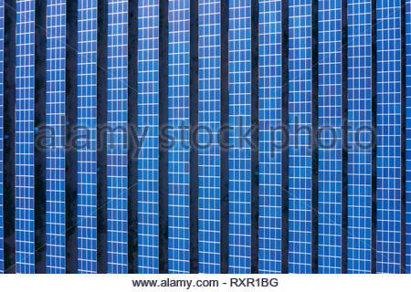 Aerial view of solar panels set in the California desert - Stock Photo