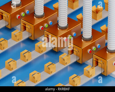 Conveyor packaging belt. Industrial factory shipment cargo business concept. 3d rendering illustration - Stock Photo