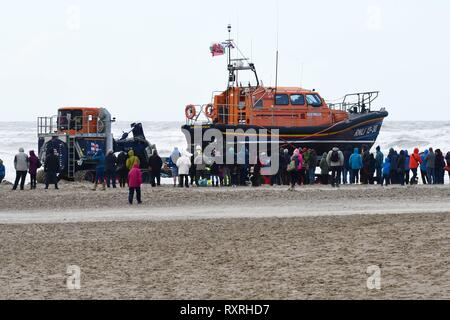 Sunday 10th March 2019 Barmouth, Gwynedd,  North Wales Barmouth  brand new RNLI Shanon Lifeboat the Ella Larsen arives at Barmouth.  Picture Erfyl Lloyd Davies Photography/Alamy Live - Stock Photo