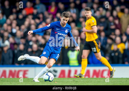 London, UK. 10th Mar 2019. Jorginho of Chelsea during the Premier League match between Chelsea and Wolverhampton Wanderers at Stamford Bridge, London, England on 10 March 2019. Photo by Salvio Calabrese.  Editorial use only, license required for commercial use. No use in betting, games or a single club/league/player publications. Credit: UK Sports Pics Ltd/Alamy Live News - Stock Photo