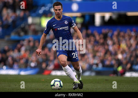 London, UK. 10th Mar 2019. Cesar Azpilicueta of Chelsea in action. Premier League match, Chelsea v Wolverhampton Wanderers at Stamford Bridge in London on Sunday 10th March 2019.  this image may only be used for Editorial purposes. Editorial use only, license required for commercial use. No use in betting, games or a single club/league/player publications. pic by Steffan Bowen/ Andrew Orchard sports photography/Alamy Live news - Stock Photo