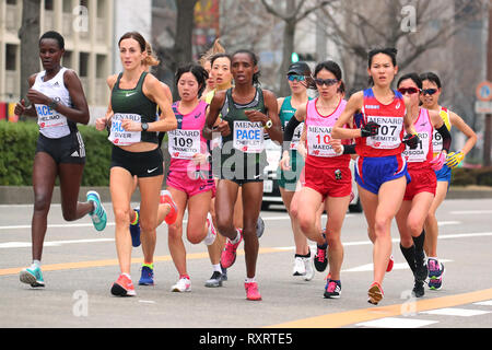 Nagoya, Aichi, Japan. 10th Mar, 2019. General view Marathon : Nagoya Women's Marathon 2019 in Nagoya, Aichi, Japan . Credit: YUTAKA/AFLO SPORT/Alamy Live News - Stock Photo