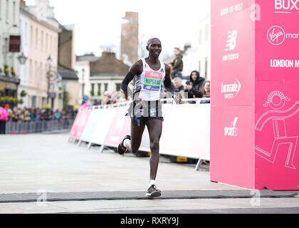 London, UK. 10th Mar, 2019. ; The Vitality Big Half Marathon; Wilson Kipsang crossing the finishing line in 6th place Credit: Action Plus Sports Images/Alamy Live News - Stock Photo