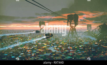 cityscape of slum city in futuristic world, digital art style, illustration painting - Stock Photo