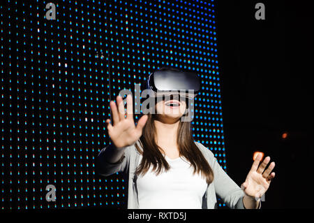 Young Woman Wear Virtual Reality Digital Glasses. - Stock Photo