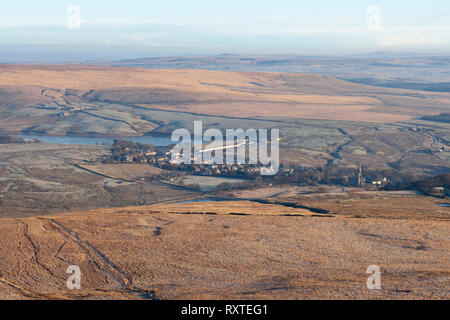 The view across the moors towards the village of Belmont, taken from the top of Winter Hill - Stock Photo