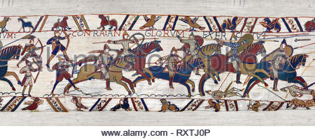 11th Century Medieval Bayeux Tapestry - Scene 51 William encourages his soldiers into battle. Battle of Hastings 1066. - Stock Photo