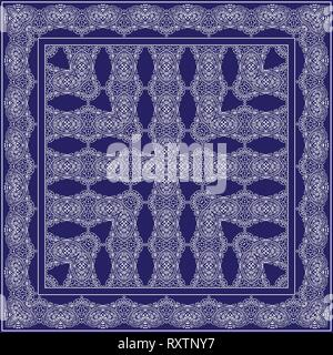 Blue handkerchief with white ornament. Square ornament for print on fabric, vector illustration. - Stock Photo