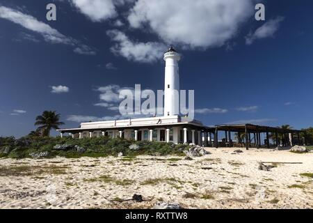 Faro Celarain Lighthouse and Tropical Beach Landscape in Punta Sur Ecological Reserve Natural Park on Southern Tip of Cozumel Island in Mexico - Stock Photo