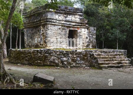 Ancient Mayan Civilization Ruins in San Gervasio Archeological Site, Cozumel Mexico - Stock Photo