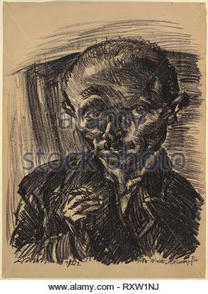 Self-Portrait. Ludwig Meidner; German, 1884-1966. Date: 1922. Dimensions: 755 x 555 mm. Black lithographic crayon on brown wove paper. Origin: Germany. Museum: The Chicago Art Institute. - Stock Photo