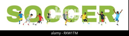 Football championship design element or card. Typography banner template with man silhouettes playing in front of a big letters with soccer text. Vect - Stock Photo