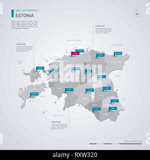 Estonia vector map with infographic elements, pointer marks. Editable template with regions, cities and capital Tallinn. - Stock Photo