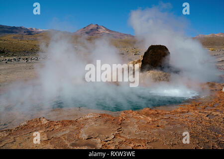 During the cold morning hours, geysers produce copious amounts of steam. El Tatio Hot Springs, Elevation 14,000 ft. Andes Mountains, Chile,South America - Stock Photo