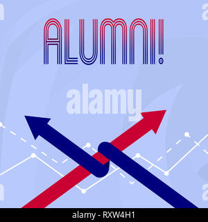 Conceptual hand writing showing Alumni. Concept meaning Alum Old graduate Postgraduate Gathering College Academy Celebration - Stock Photo