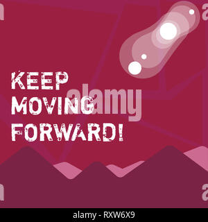Writing note showing Keep Moving Forward. Business concept for Optimism Progress Persevere Move - Stock Photo