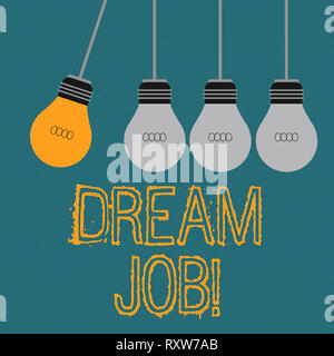 Writing note showing Dream Job. Business concept for To work in what you like Fulfilling activities - Stock Photo