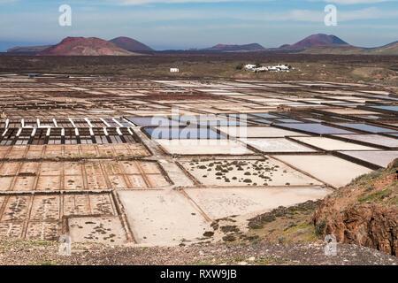 Panorama of the saltworks created by man. Salinas de Janubio, Lanzarote. Spain - Stock Photo