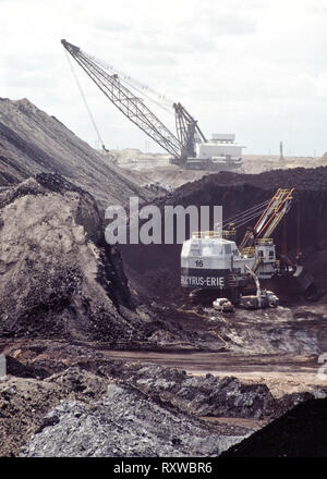 Coal surface mine, Bucyrus Electric Shovel excavating coal seam, shovel working in distance. - Stock Photo