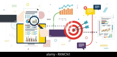 Analytics and strategy in financial market. Teamwork and success in business investment. Template in flat design for web banner or infographic in vect - Stock Photo