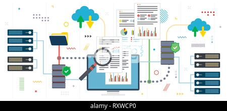 Big data analysis and cloud computing. Laptop accessing data from cloud computers. Data network and business intelligence. Flat design for web banner  - Stock Photo
