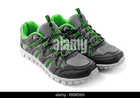 sneakers side view, isolated sport shoes - Stock Photo