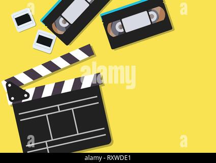 Movie clapper and video cassette tapes on yellow background. Vector illustration - Stock Photo