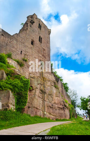 Lovely view of the ruins of Hanstein Castle in Germany, where a path along the inner curtain wall and the connected hall built on a natural rock... - Stock Photo